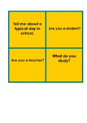 English Worksheet: Question cards about school. Trinity exam, grade 2 and 3