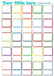 English worksheet: Multiple choice - Template