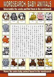 English Worksheet: Baby Animals Wordsearch
