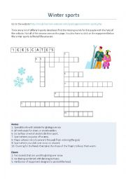 English Worksheet: Criss Cross Puzzle - Winter Sports
