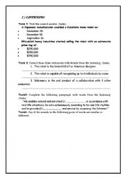 English Worksheet: listening comprehension about new technologies ,inventions ,robotics  +(MP3 link)