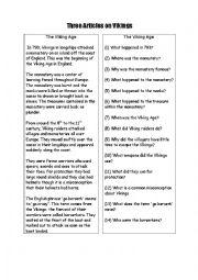 English Worksheet: three readings on Vikings