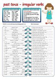 English Worksheet: past tense irregular verbs