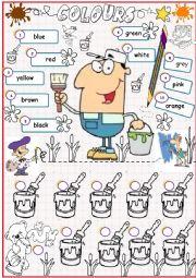 English Worksheet: My Colours - Matching activity