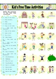 English Worksheet: Kid�s Free Time Activities - MATCHING