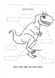 English Worksheet: Body parts (dinosaurs)