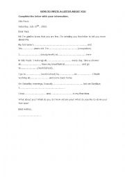 English Worksheet: Learning how to write a letter.