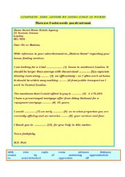 English Worksheet: Letter to a travel agency-gapfilling exercise