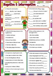 English Worksheet: PRESENT  SIMPLE - NEGATIVE & INTERROGATIVE