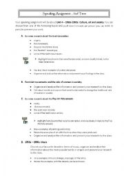 English Worksheet: Speaking assignment 12th grade