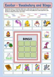 English Worksheet: Easter - vocabulary and bingo