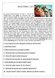 English worksheet: Beginner / Advanced listening - Wreck it Ralph movie