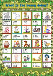 English Worksheet: Easter 2013 - What is the bunny doing?