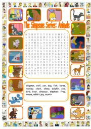 English Worksheet: The Simpsons Series: Animals Wordsearch (Key Included)