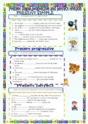 English Worksheet: present simple,progressive and perfect tenses (answer key is included)