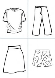 English Worksheet: Clothes 1 - Colour and cut (SPEAKING ACTIVITIES)