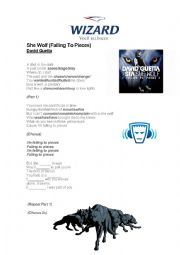 English Worksheet: She Wolf - David Guetta