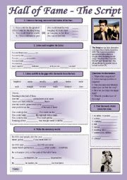 English Worksheet: Halls of Fame - Song