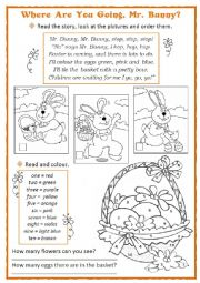 English Worksheet: Easter Bunny and the Coloured Eggs
