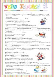 verb tenses -1  with key