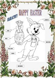 English Worksheet: Happy Easter - Color Activity