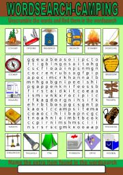 Camping Wordsearch