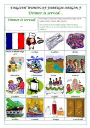 English Worksheet: ENGLISH WORDS OF FOREIGN ORIGIN F  (FRENCH) - a pictionary