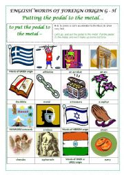 ENGLISH WORDS OF FOREIGN ORIGIN G - H  (GREEK, HAWAIIAN, HEBREW and HINDI or URDU) - a pictionary