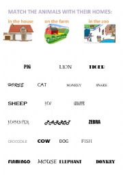 English Worksheet: Match the animals with their homes