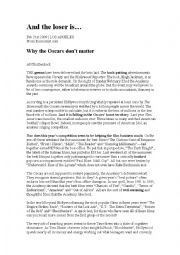 English Worksheet: Why the Oscars don�t matter