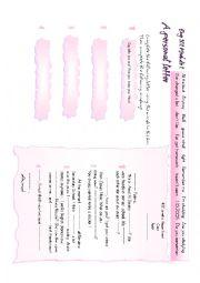 English Worksheet: A personal letter mindmap