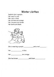 English Worksheet: Winter clothes- Read the instructions to color the pictures