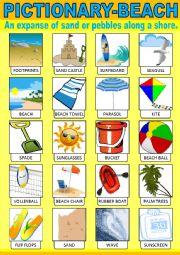 English Worksheet: Beach Pictionary
