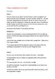 crazy hotel complaints role play