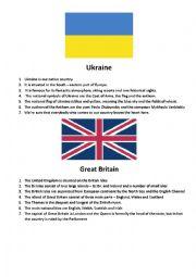 English Worksheet: Ukraine,Great Britain,THE USA,France,Spain,Czech Republic,Germany,Hungary,Poland