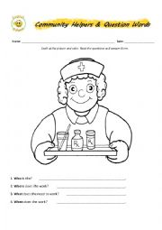 English Worksheet: Community Helpers & Question Words Part 1
