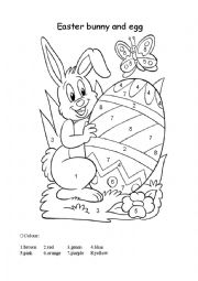 English Worksheet: Easter bunny for colouring