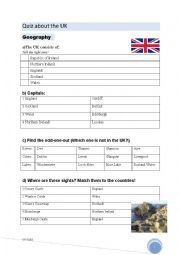 English Worksheet: Quiz about the UK