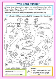 English Worksheet: Treasure Hunt Eggs