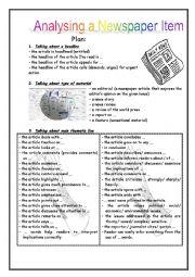 English Worksheet: Newspaper analysis