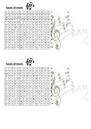 Word search-Types of music.
