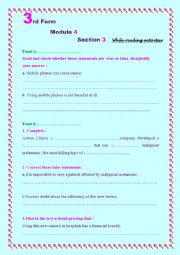 English Worksheet: 3rd Form-Module 4- section 2-