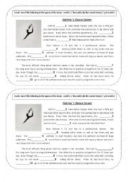 English Worksheet:  Katrina�s dancing career