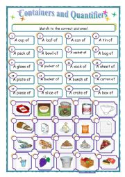 English Worksheet: containers and quantifiers