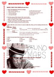 English Worksheet: �When I Was Your Man� by Bruno Mars