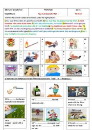 English Worksheet: You must / mustn´t /be careful(part1)