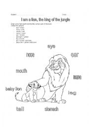 English Worksheet: I am a lion, the king of the jungle