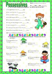 English Worksheet: POSSESSIVE ADJECTIVES & PRONOUNS