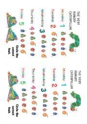 English Worksheet: The Hungry Caterpillar worksheet