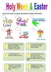 Holy Week & Easter - ESL worksheet by elamal